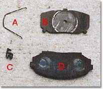 Figure 2. Brake pad and related parts.